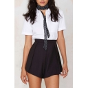 Plain High Waist Zip Side Flippy Shorts
