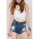 Mid Waist Zip Fly Ripped Raw Hem Denim Shorts