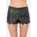 Plain Low Waist Zip Side Scalloped Hem PU Shorts