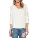White V-Neck Long Sleeve Ripped Sweater