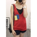 Color Block Pocket V-Neck Sleeveless Tunic Vest