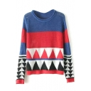 Geometric Print Round Neck Fitted Sweater