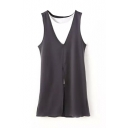 Color Block Round Neck Sleeveless Knitted Dress