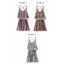 Tribal Geometric Print Strap A-Line Dress
