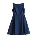 Blue Boat Neck Sleeveless Flared Denim Dress