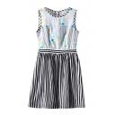 Sleeveless Stripe Floral Print Stripe Print Dress