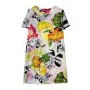 Floral Ink Print Round Neck Short Sleeve Shift Dress