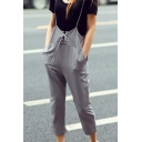 Plain Tied Front Chiffon Crop Overall