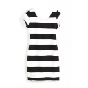 Wide Stripe Scoop Collar Cutout Back Cap Sleeve Bodycon Dress
