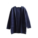 Plain Hooded Open Front Black Hem Long Sleeve Tunic Cardigan