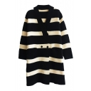 Wide Stripe V-Neck Double-Breasted Long Sleeve Tunic Knit Cardigan