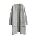 Plain V-Neck Double Pocket Long Sleeve Tunic Knit Cardigan