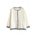 Stripe Round Collar Single-Breasted Double Pocket Long Sleeve Knit Cardigan