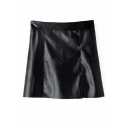 Plain High Waist Zip Back PU A-Line Mini Skirt