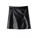 Plain High Waist Zip Back PU A-Line Mini Skirt