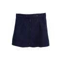 Plain Zip Front Tweed A-Line Mini Skirt