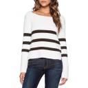 White Striped Scoop Long Sleeve Crop Sweater