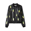 Black Embroidered Pineapple PU Jacket