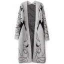 Gray Beautiful Lady Patter Open Front Cardigan