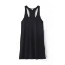 Plain Round Neck Backless Tank Mini Dress