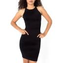 Plain Round Neck Sleeveless Bodycon Dress