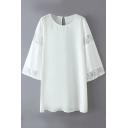 Plain Flare Sleeve Lace Insert Shift Dress