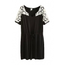 V-Neck Lace Embroidery Shoulder Tie Waist Short Sleeve Dress