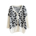 Tiger Pattern V-Neck Single-Breasted Long Sleeve Knit Cardigan