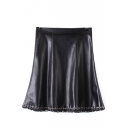 PU High Waist Zip Side Ring Trim A-Line Mini Skirt