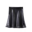 PU High Waist Zip Side Ring Trim A-Line Mini Skirt