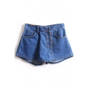 Plain Button Fly Skort Denim Shorts