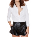 PU Plain Zip Fly Wide Leg Shorts