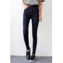 Plain High Waist Skinny Fitted Pencil Jeans