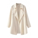 Plain Notched Lapel Long Sleeve Ruffle Detail Coat