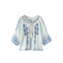 Tribal Embroidery Round Collar Tie Front 3/4 Length Sleeve Shirt
