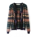 Tribal Geometric Jacquard Waterfall Front Cardigan