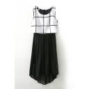 Sleeveless Plaid Print High Low Hem Chiffon Dress