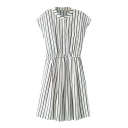 Cap Sleeve Stand-Up Collar Buttons Stripe Dress