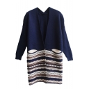 Geometric Jacquard Colorblock V-Neck Long Sleeve Tunic Cardigan