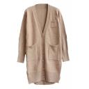 Plain V-Neck Pockets Single-Breasted Long Sleeve Tunic Cardigan