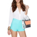 Plain High Waist Zip Tulip Shorts