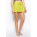 Plain Pleated Drawstring Flippy Shorts