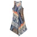 Tribal Print V-Neck Sleeveless Loose Asymmetrical Hem Dress