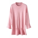 Pink Round Neck Long Sleeve Peplum Sweater