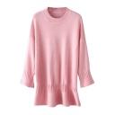 Pink Round Neck Long Sleeve Peplum Sweater