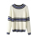 Striped Semi High Neck Long Sleeve Sweater