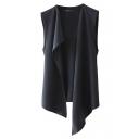 Plain Asymmetrical Hem Tied Back Chiffon Vest