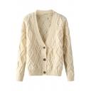 Plaid Knit V-Neck Single Breast Cardigan