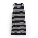 Striped Round Neck Sleeveless Knitted Tank Dress
