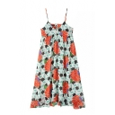 Floral Print Spaghetti Strap Swing Dress